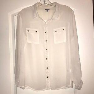 Beautiful White Long Sleeve Top, XL